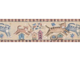Prepasted Wallpaper Borders - Children Susan Winget Jumping Cats Wall Paper Border