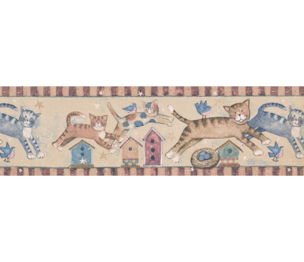 Cats CHILDREN Susan Winget Jumpin Cats Wallpaper Border York Wallcoverings
