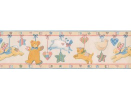 Blue Yellow Pink Animals Baby Wallpaper Border