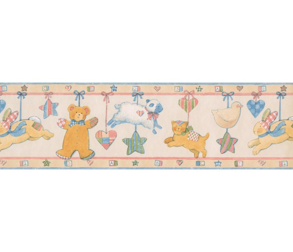Kids Wallpaper Borders: Blue Yellow Pink Animals Baby Wallpaper Border