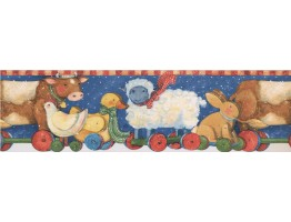 6 1/2 in x 15 ft Prepasted Wallpaper Borders - Red Yellow Winter Kids Toy Animals Wall Paper Border