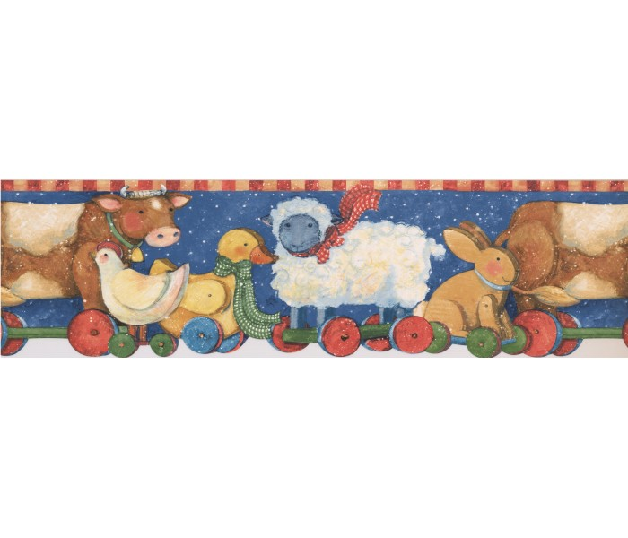 Clearance: Red Yellow Winter Kids Toy Animals Wallpaper Border