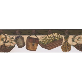 6 3/4 in x 15 ft Prepasted Wallpaper Borders - Brown and Beige Floral Baskets Wall Paper Border