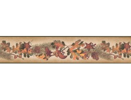 Prepasted Wallpaper Borders - Running Fruit Plants Wall Paper Border