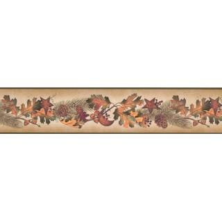 5 in x 15 ft Prepasted Wallpaper Borders - Running Fruit Plants Wall Paper Border