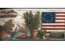 Blue Red and Green Lodge Flag Wallpaper Border