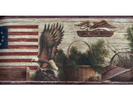 Burgundy and Brown Lodge Eagles Wallpaper Border