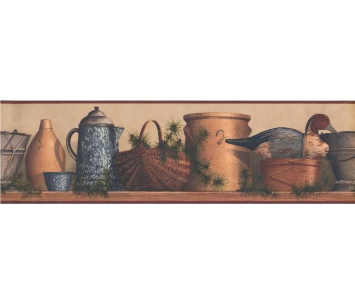 Kitchen Wallpaper Borders: Burgundy Tan and Blue Lodge Coffee Pot Wallpaper Border