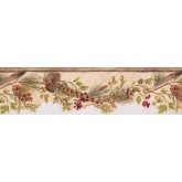 Floral Wallpaper Borders: Tan Green and Red Lodge Berries Wallpaper Border