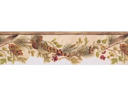 Prepasted Wallpaper Borders - Tan Green and Red Lodge Berries Wall Paper Border