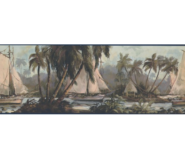 Sea World Wall Borders: Navy Blue Sailboat Wallpaper Border