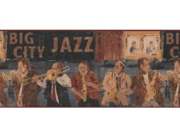 10 in x 15 ft Prepasted Wallpaper Borders - Brown Musicians Wall Paper Border