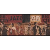 City Wallpaper Borders: Brown Jazz Musicians Wallpaper Border