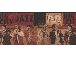 10 in x 15 ft Prepasted Wallpaper Borders - Brown Jazz Musicians Wall Paper Border