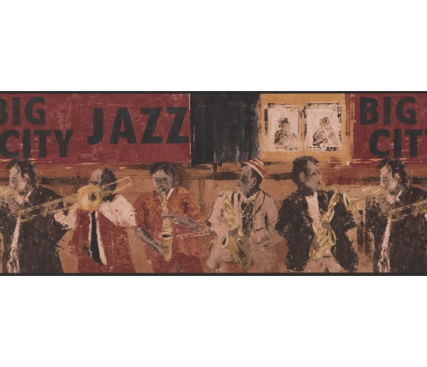 City Brown Jazz Musicians Wallpaper Border
