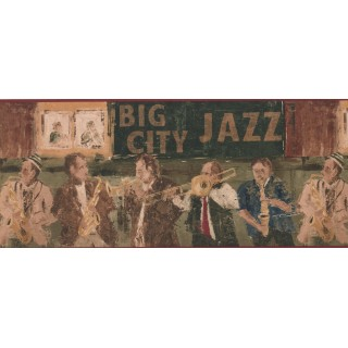 10 in x 15 ft Prepasted Wallpaper Borders - Jazz Musicians Wall Paper Border