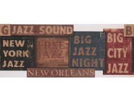 8 in x 15 ft Prepasted Wallpaper Borders - Orleans Jazz Night Wall Paper Border