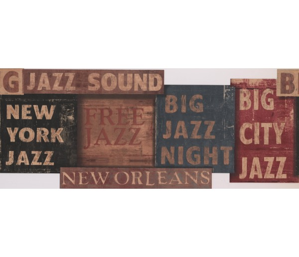 Prepasted Wallpaper Borders - Orleans Jazz Night Wall Paper Border