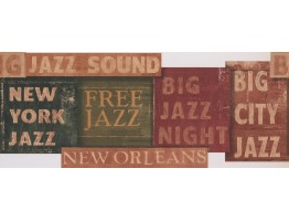 White Jazz Signs Wallpaper Border