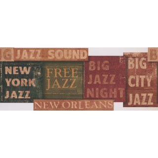 10 1/4 in x 15 ft Prepasted Wallpaper Borders - White Jazz Signs Wall Paper Border