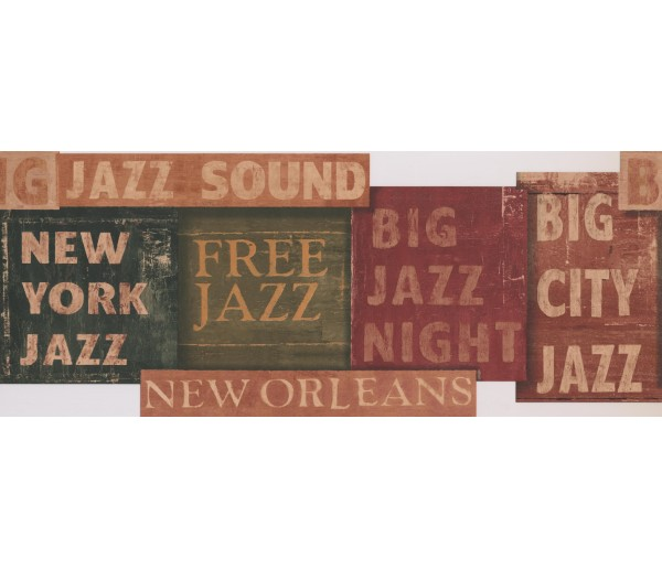 Prepasted Wallpaper Borders - White Jazz Signs Wall Paper Border
