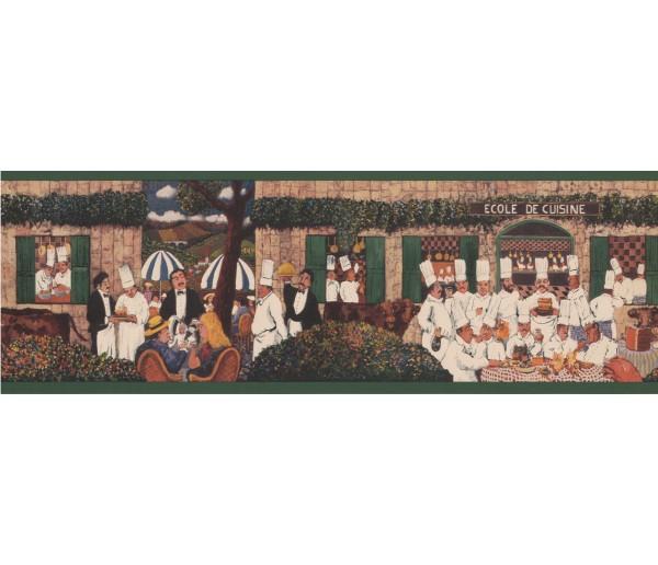 Vintage Wallpaper Borders: Green Al Fresco Dining Wallpaper Border