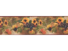 Prepasted Wallpaper Borders - Sunflower Fruit Basket Wall Paper Border