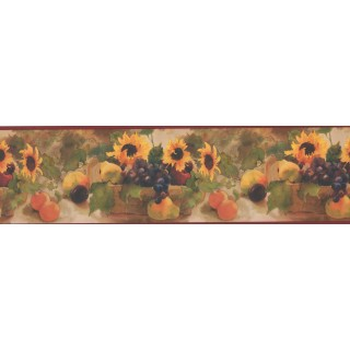 7 in x 15 ft Prepasted Wallpaper Borders - Sunflower Fruit Basket Wall Paper Border