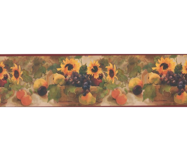 Sunflower Wallpaper Borders: Sunflower Fruit Basket Wallpaper Border