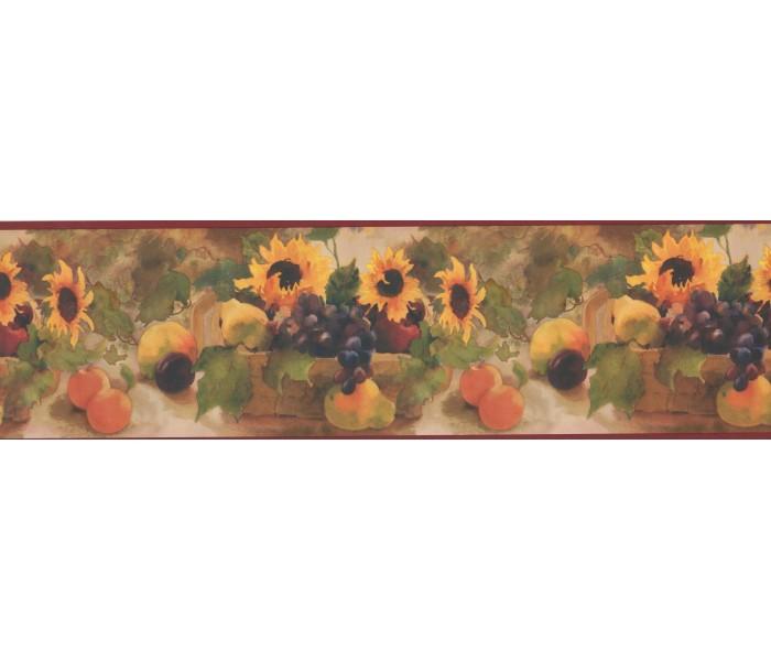 Sunflower Wallpaper Borders: Sunflower Fruit Basket Wallpaper Border
