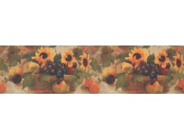 Prepasted Wallpaper Borders - Sunflower Grape Fruit Basket Wall Paper Border