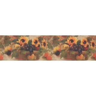 7 in x 15 ft Prepasted Wallpaper Borders - Sunflower Grape Fruit Basket Wall Paper Border
