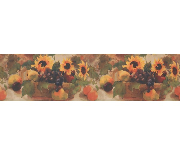 Sunflower Wallpaper Borders: Sunflower Grape Fruit Basket Wallpaper Border