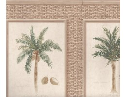 Brown Bamboo Palm Trees Wallpaper Border