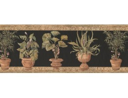 Prepasted Wallpaper Borders - Potted Garden Plants Wall Paper Border