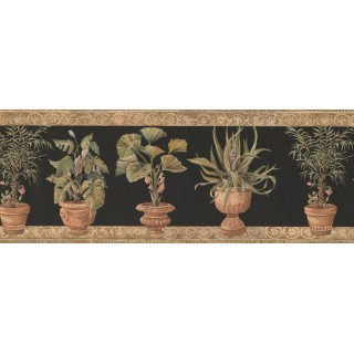 9 in x 15 ft Prepasted Wallpaper Borders - Potted Garden Plants Wall Paper Border