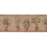 Garden Wallpaper Borders: Brown Stone Green Plants Wallpaper Border