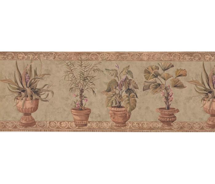 Garden Wallpaper Borders: Brown Stone Green Plants Wallpaper Border
