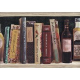 Bookshelf Wallpaper Borders: Black Book Shelf Oil Bottle Wallpaper Border
