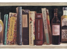 Black Book Shelf Oil Bottle Wallpaper Border