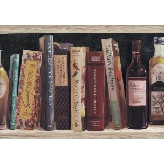 9 in x 15 ft Prepasted Wallpaper Borders - Black Book Shelf Oil Bottle Wall Paper Border