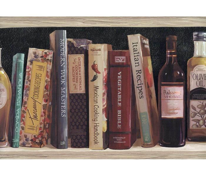 Bookshelf Wallpaper Borders: Black Book Shelf Oil Bottle Wallpaper Border