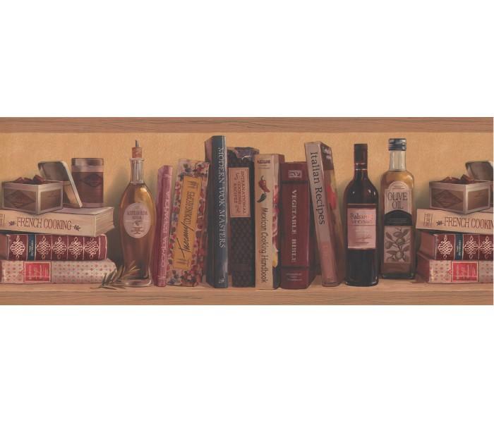 Bookshelf Wallpaper Borders: Yellow Background Shelfed Olive oil Wallpaper Border
