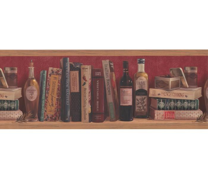 Bookshelf Wallpaper Borders: Meroon Background Shelfed Olive oil Wallpaper Border