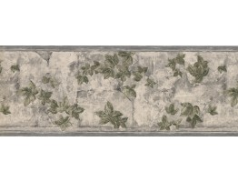 9 in x 15 ft Prepasted Wallpaper Borders - White Tiles Gardened Leaves Wall Paper Border