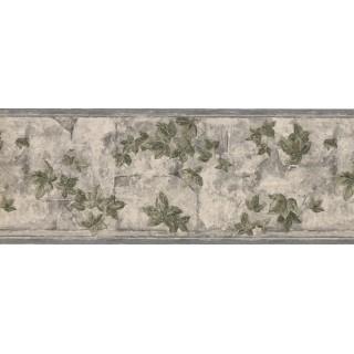 9 in x 15 ft Prepasted Wallpaper Borders - White Tiles Gardened Leaves Wall Paper Border