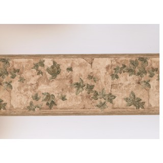 9 in x 15 ft Prepasted Wallpaper Borders - Brown Garden Wall Leaves Wall Paper Border
