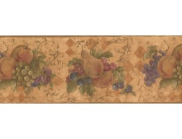 8 1/2 in x 15 ft Prepasted Wallpaper Borders - Gold Yellow Pear Cherries Grapes Wall Paper Border
