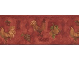Prepasted Wallpaper Borders - Yellow Rooster & Fruits Vintage Wall Paper Border