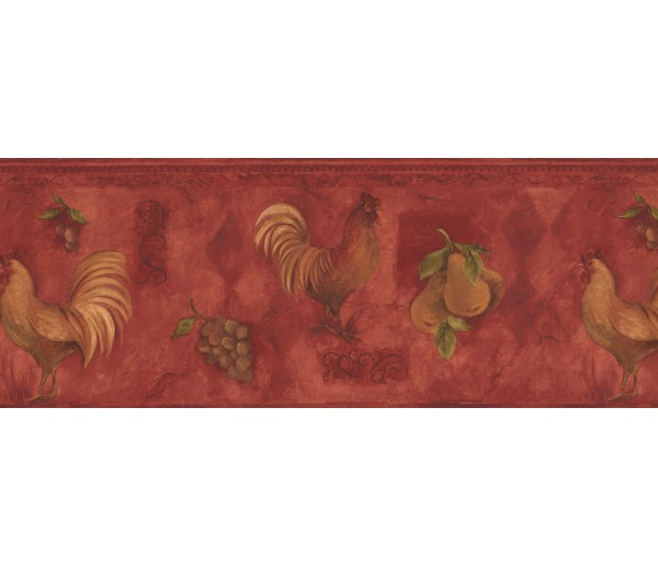 Roosters Yellow Rooster & Fruits Vintage Wallpaper Border York Wallcoverings